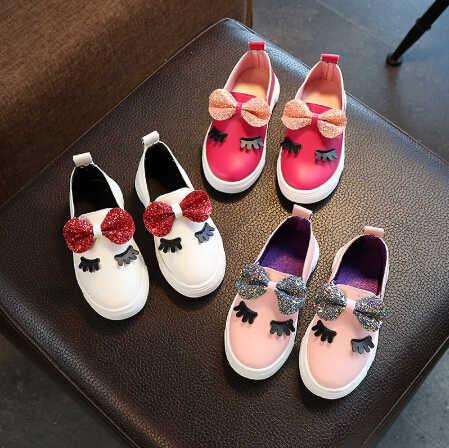 1073b937f82e New Baby Kid Girl Soft Sole Crib Shoes Anti-slip Sneakers Sequin Bow  Eyelashes Princess