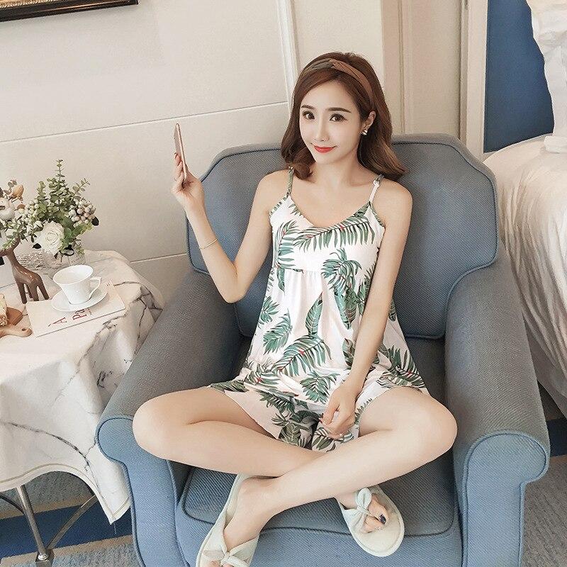 2019 Summer Cotton Pajamas For Women Floral Print Womens Pajama Sets Pyjamas Sleeveless Sleepwear V Neck Pijama Mujer in Pajama Sets from Underwear Sleepwears