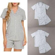 New Women Pajamas Sets Summer Short Sleeve Turn down Collar Striped Dot Button Design Shirts+Shorts Pants Homewear Sleepwear Hot