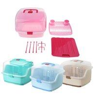 Portable Baby Bottle Dryer Bottle Drying Rack with Dust Cover Storage Box Baby Feeding Bottles Cleaning Shelf Holder