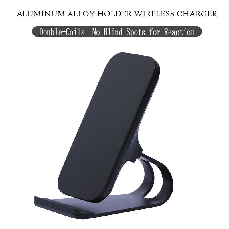 10W Qi Wireless Charger Quick Charging Vertical Mobile Phone Desk Stand 2-Coils Fast Wireless Charger With LED Lights