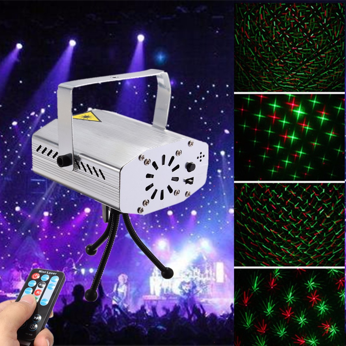 Remote Control Mini Laser Projector  Lights LED  Party Pattern Lighting Projector DJ Disco KTV Party  Lighting|Stage Lighting Effect| |  - title=