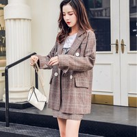 Fashion New 2018 Autumn Women Plaid Two Piece Sets Vintage Double Breasted Blazer And Mini Skirt Casual