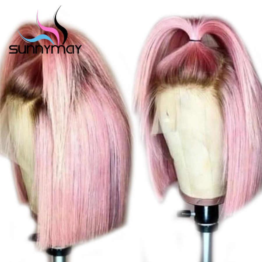 Sunnyмая 13x4 боб парики предварительно сорванные человеческие волосы на кружеве парики короткие прямые парики на фронте шнурка розовый цвет Омбре Remy человеческие парики