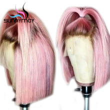 Sunnymay 13x4 Bob Wigs Pre Plucked Lace Front Human Hair Wigs Short Straight Lace Front Wigs Pink Color Ombre Remy Human Wigs стоимость