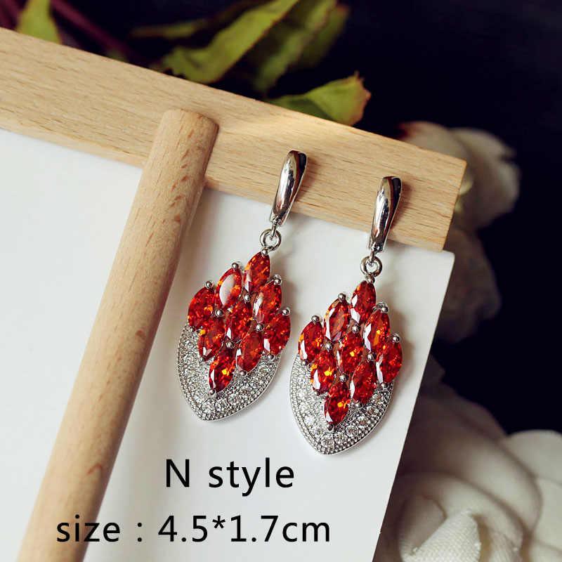 Mewah Claret Merah Anggur Batu Panjang Drop Anting-Anting Geometris Bentuk Persegi Besar Pria dan Wanita Pesta Pernikahan Hadiah Perhiasan
