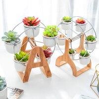 Ceramics Mini Flower Pots Ferris Wheel Succulent Combination Potted Plant Desktop Flowerpot Planters Bonsai Pot Garden Supplies
