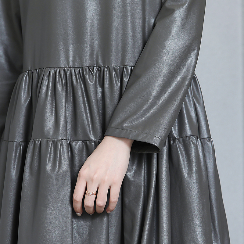 Nerazzurrri pu cuir robe femmes rouge gris noir robe de grande taille 5xl 6xl 7xl manches longues élégante plissée maxi robe automne 2019 - 5