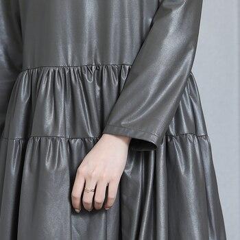 nerazzurrri pu leather dress women red gray black plus size dress 5xl 6xl 7xl long sleeve elegant pleated maxi dress fall 2019 8
