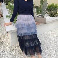 Fashion Gradient Blue Tiered Mesh Ball Gown Skirts Spring Summer High Waist Sweet Party Skirts