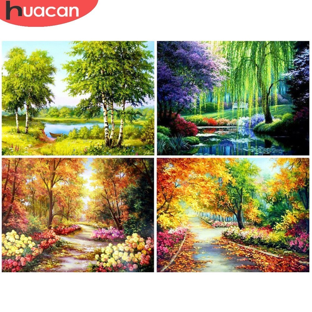 HUACAN Diamond Painting Cross Stitch Tree Schenic Scaleic Full Square Rhinestones 5D DIY Diamond Embroidery 5D Diamond موزائیک دیواری دکوراسیون