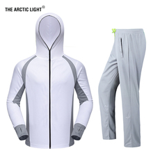 TRVLWEGO Fishing Clothing Sets Men Breathable UPF 50+ UV Protection Outdoor Sportswear Suit Summer Shirt Pants Hooded Shirt