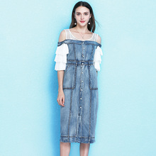 2019 popular women's new off-the-shoulder lotus leaf pleated sleeve denim dress temperament split hem dress NW19B6129 все цены
