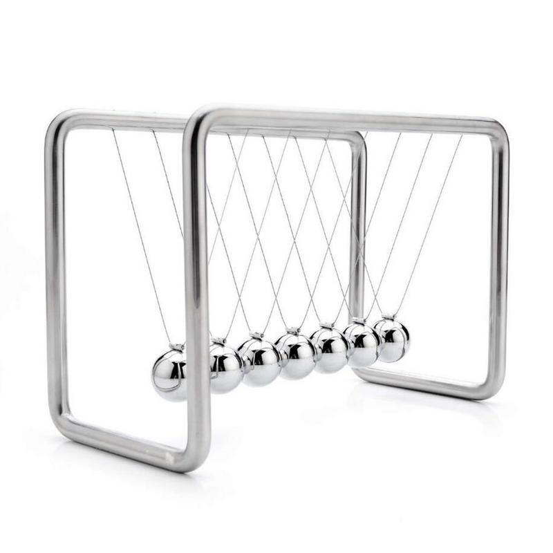 7 balles Newtons berceau Balance balles Science psychologie Puzzle bureau amusant Gadget avec cadre en acier inoxydable et chaîne en métal