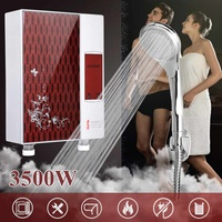 220V 3600W Mini Tankless Instant Electric Hot Water Heater Boiler Bathroom Shower Set Water Heating Red Black 24x18x7cm