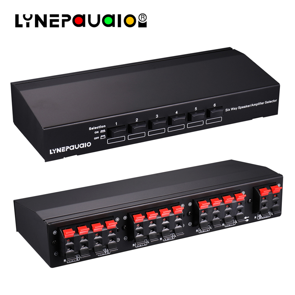 Six way Stereo Speaker Selector Switch Amplifier Selector Bidirectional Selective Switcher Switcher 1 Input 6 Output