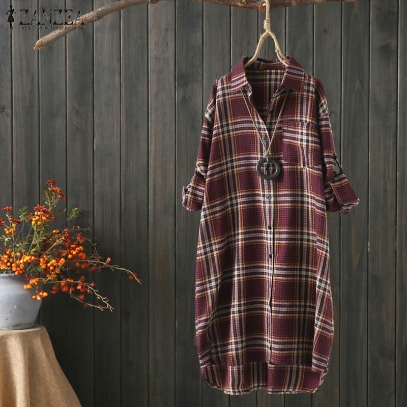 2019 ZANZEA Women Blouses Long Sleeve Shirts Cotton Linen Plaid Tunic Tops Ladies Casual Loose Blusas Summer Female Outerwear