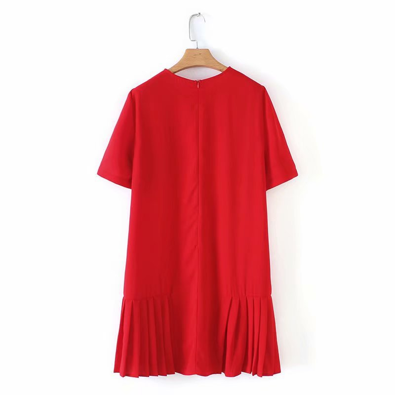 Spring Summer New O Neck Women Straight Dress 2019 Fashion Short Sleeve Pleated Dresses Solid Casual Mini Dress in Dresses from Women 39 s Clothing