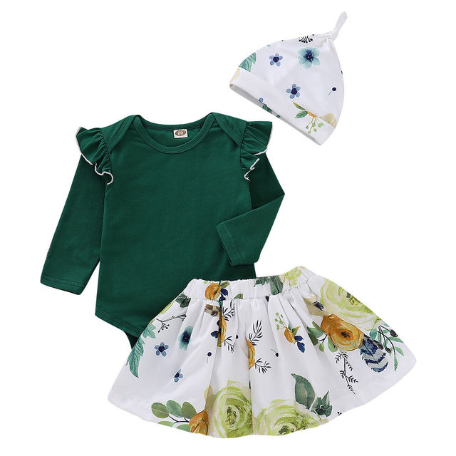 eea5bdb1284 Newborn Baby Girls Tops Green Romper Floral Skirts Outfits Set Autumn  Clothes 0-24M