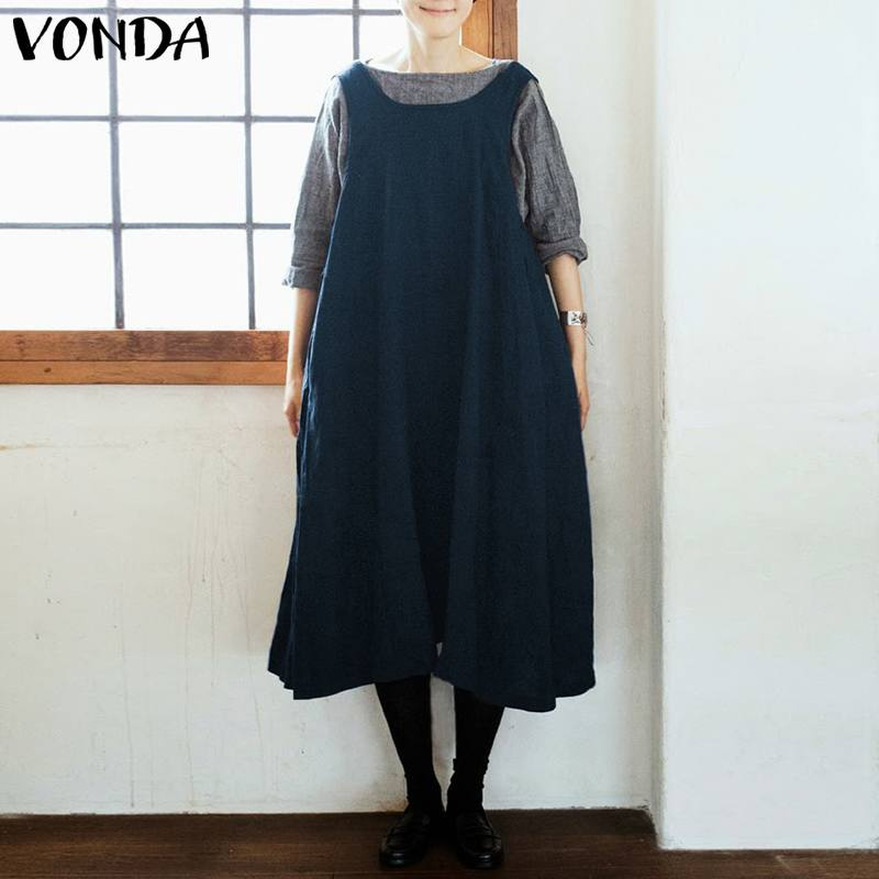 VONDA Women Vintage Cotton Dress Apron 2019 Casual Loose Square Neck Solid Dresses Plus Size Sexy Sleeveless Mid-Calf Vestidos
