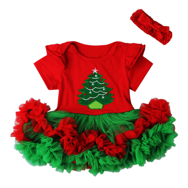 2PCS Christmas Newborn Baby Ruffle   Romper   Dress + Headband Party Outfit Costume Xmas Clothes for Girls
