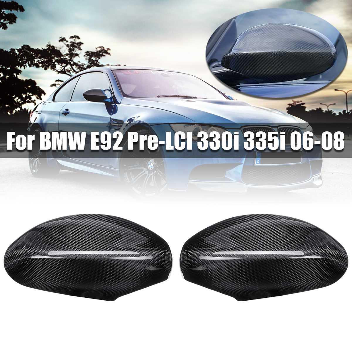 Carbon Fiber Rearview Mirror Cover for BMW E92 Pre LCI 330i 335i 06 08 Auto Exterior Accessories Door Side Mirror Cover for BMW