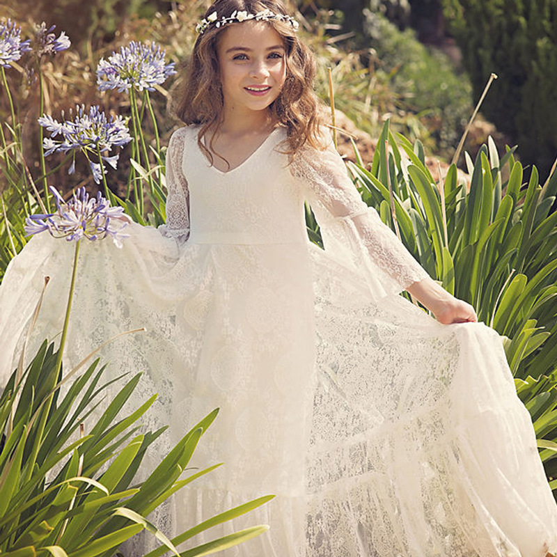 Lovely Lace   Flower     Girl     Dresses   V-Neck A-Line 3/4 Sleeve Tulle Appliques   Dresses   For Angel   Girls   2019 Robe De Communion Fille