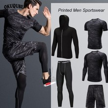 Printed Tracksuit Men Elastic Sportswear Soft Breathable Jogging Training Gym Fitness Compression Clothing Man Running Set S-4XL