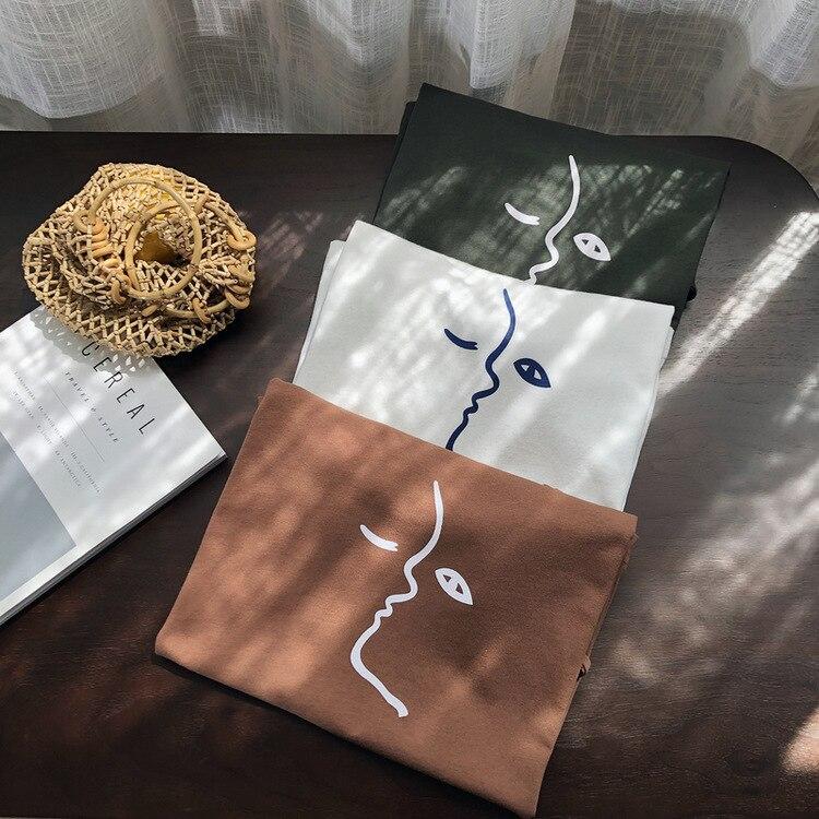 Mooirue 2019 Spring Summer Funny Korean Tee Shirt Tee Female Femme Printing O Neck Stripe New Arrivals Bodycon Cotton Tops