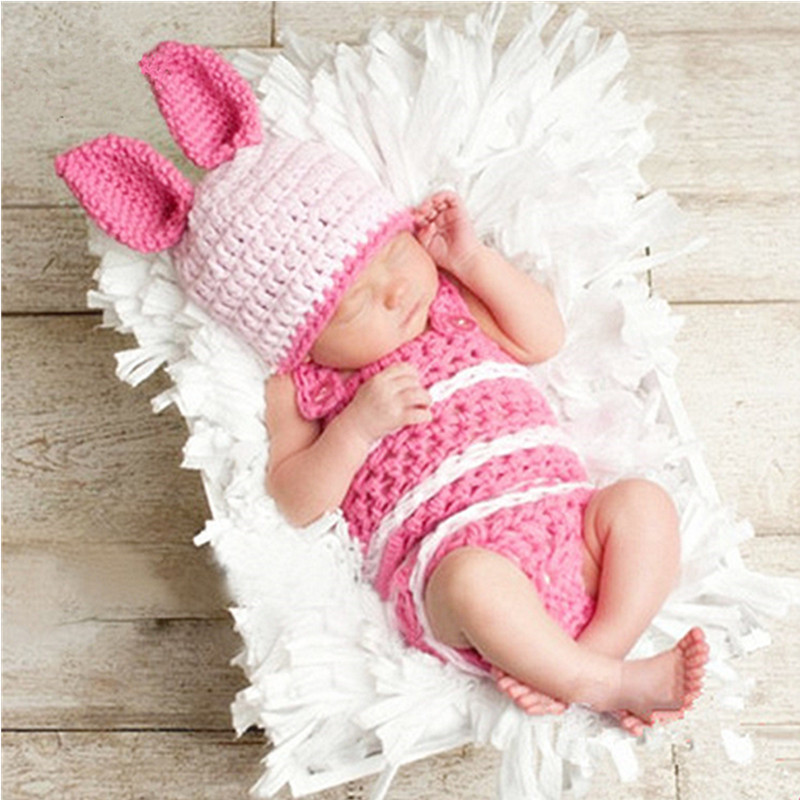 Baby Photography Props Cute Baby Bunny Costume Knitted Rabbit Hat Set Infant Photo Props Accessory Baby Photography Accessories