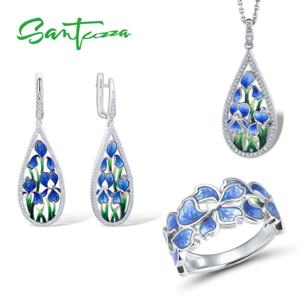 SANTUZZA Jewelry Set For Woman Pure 925 Sterling Silver HANDMADE Enamel Blue Flower Rings Earrings Pendant