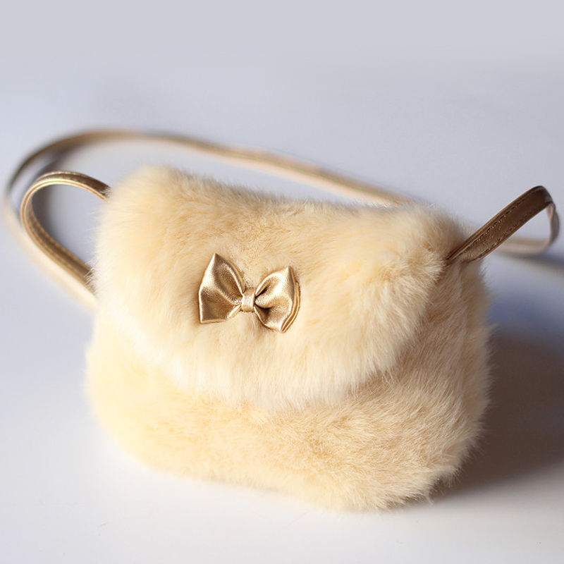 2018 New Cute Children Princess Girl Kids Mini Cross Body Bag Fashion Bowknot Imitation Fur Shoulder Messenger Bag Purse(China)