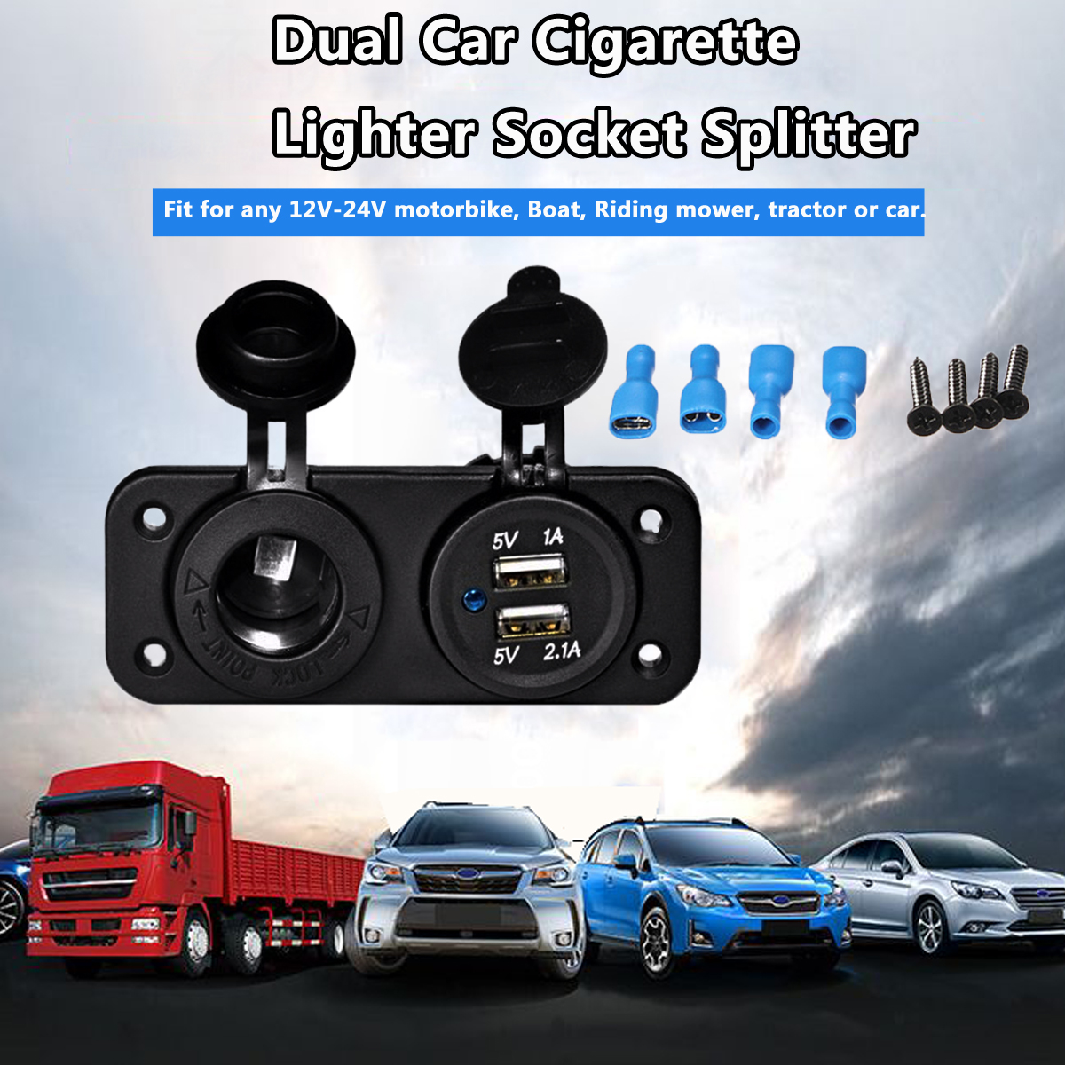 12V Dual USB Car Cigarette Lighter Socket Splitter 12V 2.1A&1A Charger Power Adapter Outlet Accessories high quality universal smart fuse circuit breaker protection dual usb port 5v 2 1a 1a car charger for mobile phones tablet pc