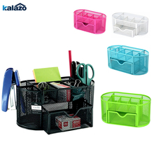 9 Storage Multi-functional Desk Organizer Mesh Metal Pen Holder Stationery Container Box Office School Supplies  Caddy Black deli office pen container small objects storage box multifunctional desk organizer portable pen holder office school supplies