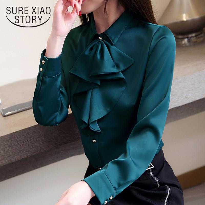 plus size  women blouse fashion woman blouses 2019 chiffon blouse shirt womens tops and blouses Long Sleeve Women Shirts 2030 50