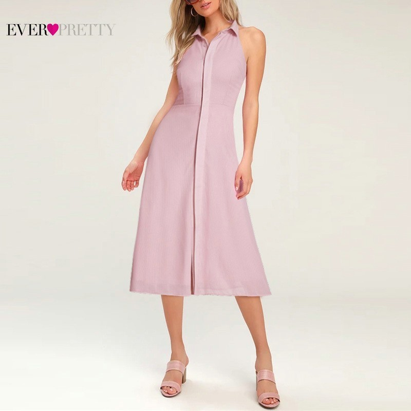 Pink Elegant Cocktail Dresses Ever Pretty AS07196PK A-Line High Neck Casual Women Short Summer Party Dresses Robe Cocktail 2019