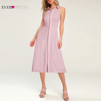 Pink Elegant Cocktail Dresses Ever Pretty AS07196PK A-Line High Neck Casual Women Short Summer Party Dresses Robe Cocktail 2019 Cocktail Dresses