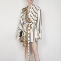 New Women Lapel Long Sleeve Striped Blouse Pattern Split Joint Irregular Shirt Bandage Sashes Blouse
