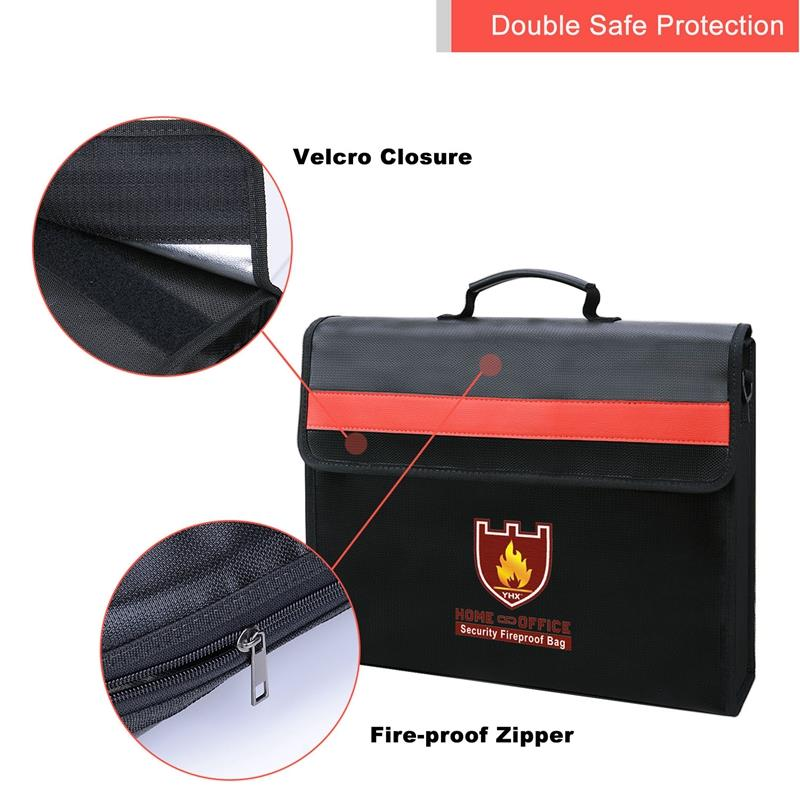 Image 3 - Fireproof Document Bag Non Itchy Fiberglass Cloth Waterproof Holder With Shoulder Strap Handle Bag-in File Folder from Office & School Supplies