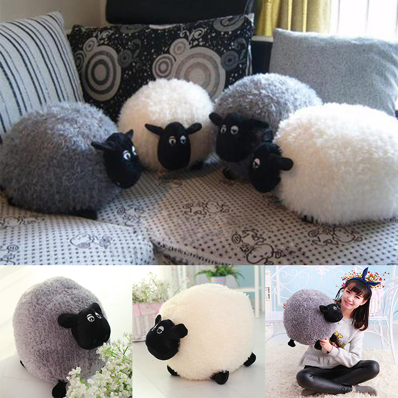 20/30cm Funny Cute Sheep Pillow Cushion Plush Toys Soft Comfort Cushion Stuffed Dolls Baby Kids Cartoon Gift White/Gray