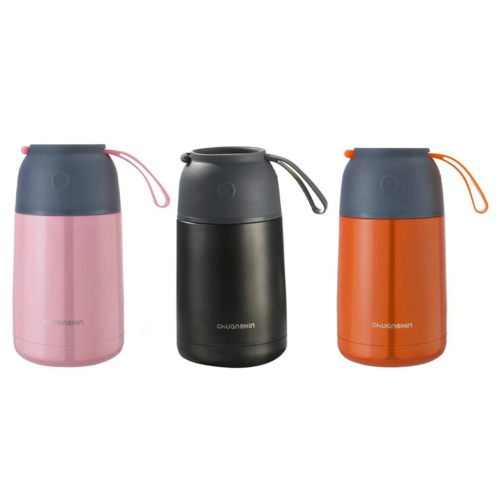 New 650ML Inside Outside 304 Stainless Steel Vacuum Flask Innovative Handle Boring Beaker Insulated Lunch