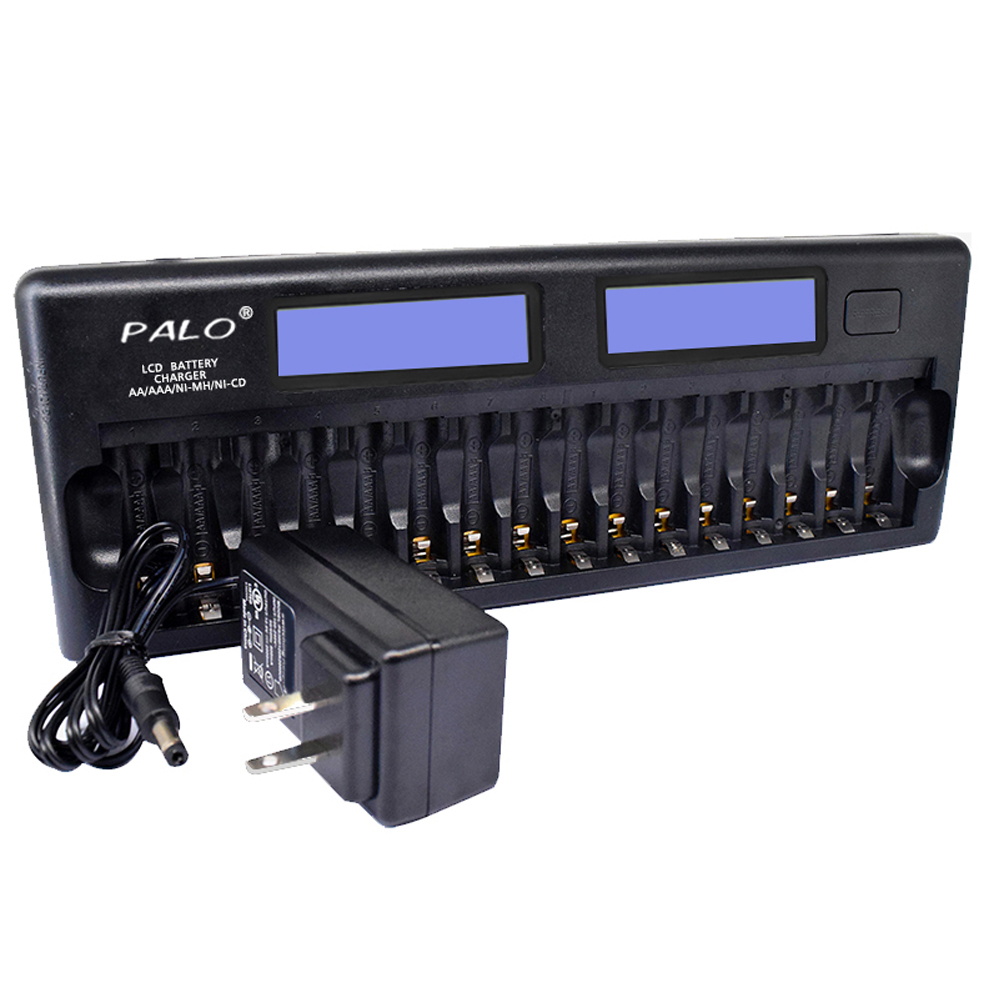 PALO PL NC31 Universal Battery Charger Two 3 LCD Screen Smart Charger w 16 Battery Slots
