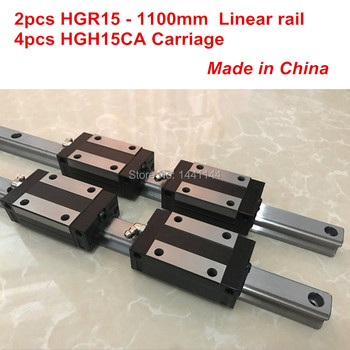 HGR15 linear guide rail: 2pcs HGR15 - 1100mm + 4pcs HGH15CA linear block carriage CNC parts