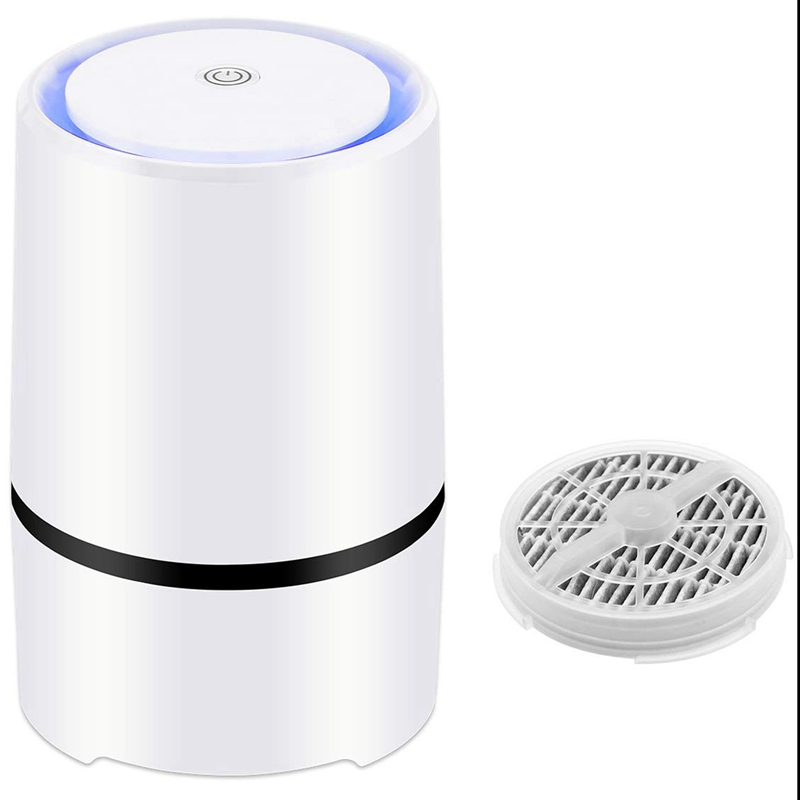 NEW-Desktop Air Purifier With 1Pcs Hepa Filters Replaced, Portable Air Cleaner With Night Light For Home Bedroom Office Car AlNEW-Desktop Air Purifier With 1Pcs Hepa Filters Replaced, Portable Air Cleaner With Night Light For Home Bedroom Office Car Al