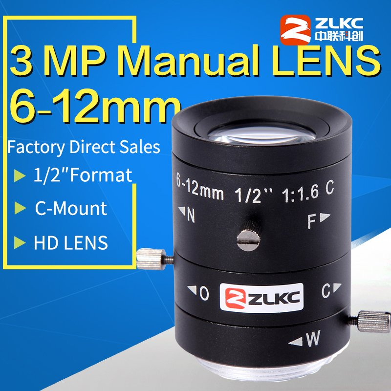 3 Megapixel FA c mount lens 6 12mm 1 2 Machine Vision Manual Iris Varifocal HD