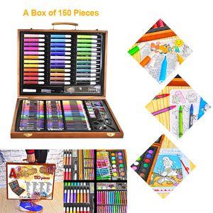 Image 2 - 150pcs Painting Tools Big Box Brush Watercolor Pencil Watercolor Child Stationery Set Wooden Box