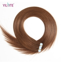 Yilite Free Shipping 20pieces Tape Hair Extensions, 22'' Non Remy Tape In PU European Human Hair Extensions 6#