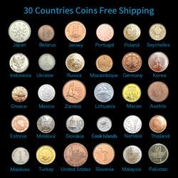 Juego de 30 monedas de 30 países diferentes, Envío Gratis, Circulación de salida, coleccionable, 100% Original, Asia África América Europa