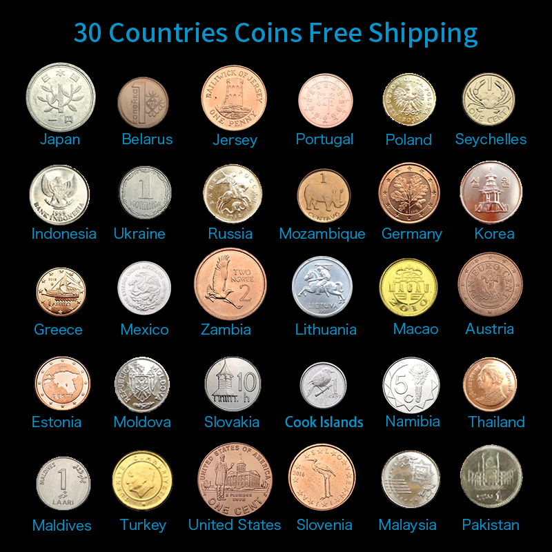 Original Set 30 Coins collection From 30 Different Countries,FREE SHIPPING! 100% Real Genuine Coins, Asia Africa America Europe