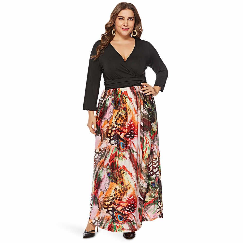 Wipalo с длинным рукавом и глубоким вырезом, с разноцветным принтом, большие размеры, женское макси платье, весна-осень, Повседневное платье, большие размеры 6XL, Vestido